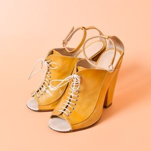 GIVENCHY Yellow Patent Leather Lace-Up Block Heels